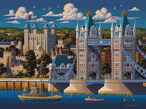 Dowdle Folk Art London Tower Bridge 500pc 16x20 Puzzles