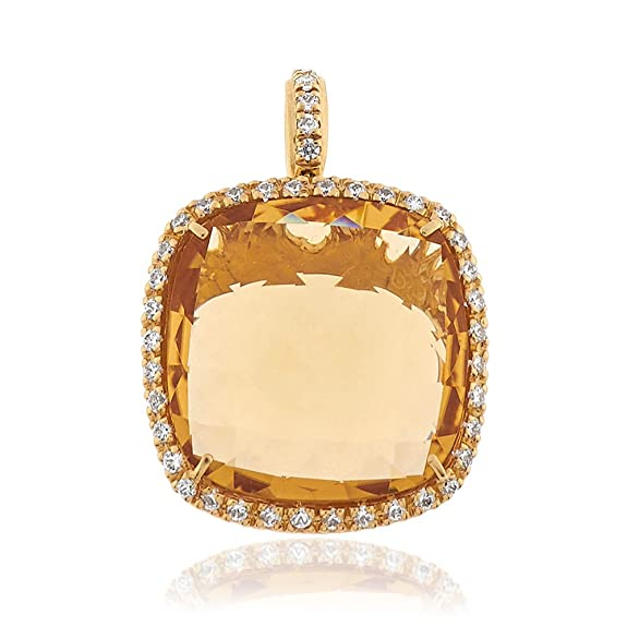 Gioiello Italiano - Yellow gold pendant with citrine and zircons