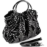 MG Collection AUDREY Black Sequin-Embellished Patent Evening Tote Purse