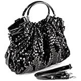 MG Collection Sequin Patent Evening Bag