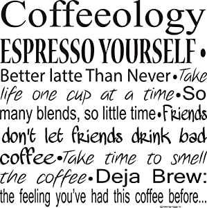 Kitchen Wall Decals-Coffeeology Espresso Yourself Wall Decals-Coffee Quotes-Coffee Decals- Coffee Decor- Coffee Wall Sayings from Global Sign Images