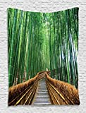 Stairs to Bridge Over Bamboos Path Tropical Nature Woodland Way Quiteness Peaceful View Digital Wall Hanging Tapestry Living Room Bedroom Dorm Decor, Green Brown Gray