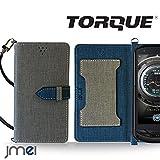 TORQUE G02 ケース JMEIオリジナルカルネケース VESTA グレー au エーユートルク スマホ カバー スマホケース 手帳型 ショルダー スリム スマートフォン