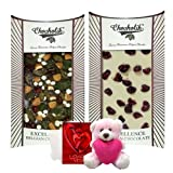 Chocholik Luxury Chocolates - Sweet Sensations Of White & Dark Chocolate Bar With Teddy And Love Card