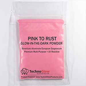 Glow in The Dark & UV Reactive Powder - Multipurpose PRO-Series (Fluorescent Pink to Rust, 8 Ounces (227g)) (Color: Fluorescent Pink to Rust, Tamaño: 8 Ounces (227g))