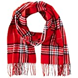 Phenix Cashmere Men's Tartan Plaid Scarf, Red/Grey, One Size