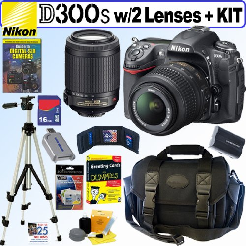 "Nikon D300s 12MP CMOS Digital SLR Camera with 18-55mm f/3.5-5.6G AF-S DX ""VR"" and 55-200mm f/4-5.6G ED IF AF-S DX ""VR"" Zoom-Nikkor Lens + 16GB Deluxe Accessory Kit"