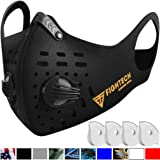 FIGHTECH Dust Mask | Mouth Mask Respirator with 4 Carbon Filters for Pollution Pollen Allergy Woodworking Mowing Running | Washable and Reusable Neoprene Half Face Mask (Large, Charcoal Black) (Color: Charcoal Black, Tamaño: Large)