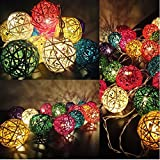 JnDee⢠Handcraft Multi Colours 4M(13ft) 40 Rattan Balls Battery Powered Warm White LED Fairy Light Perfect for Christmas Wedding and parties