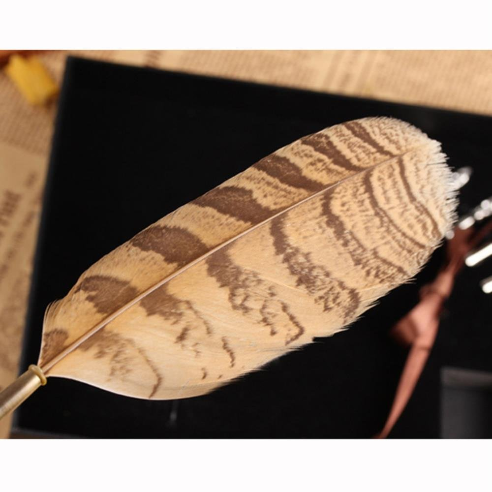 PASSION juneTree Calligraphy Pen Feather Writing Quill pens Antique Owl Feather Metal Nibbed Pen 2
