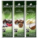 Cavalier - Stevia-Schokoriegel-Auswahl I - 3x40g - Dunkle Beere, Milch-Praliné, Weißer Kokos