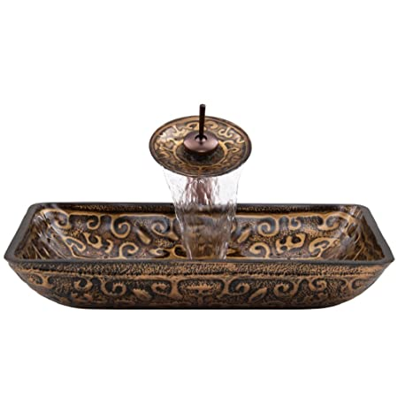 VIGO Rectangular Golden Greek Glass Vessel Bathroom Sink and Waterfall Faucet with Pop Up, Oil Rubbed Bronze