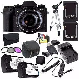 Fujifilm X-T1 Mirrorless Digital Camera with 18-135mm Lens (Black) 16432786 + Battery + External Charger + 16GB SDHC Card + 32GB SDHC Card + Case Saver Bundle - International Version (No Warranty)