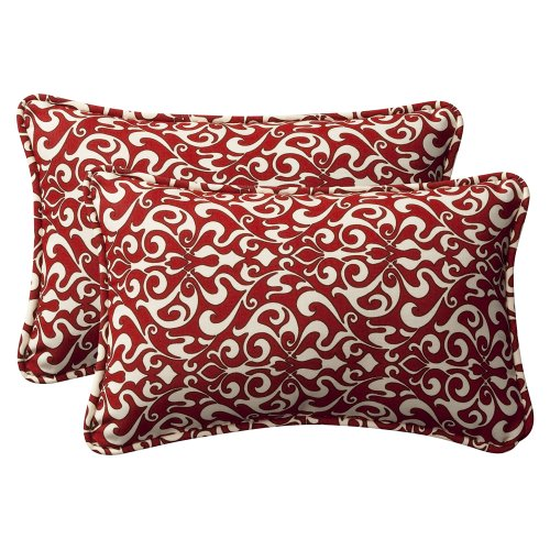 Pillow Perfect Decorative Red/White Damask Toss Pillows, Rectangle, 2-Pack