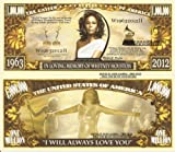 Novelty Dollar In Loving Memory of Whitney Houston Million Dollar Bills x 4 1963 2012