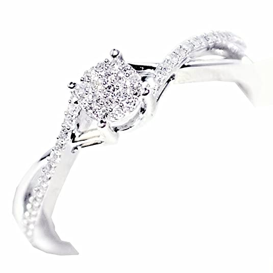 Rings-MidwestJewellery.com Women's 0.15Cttw Diamond Promise Ring 10K White Gold Engagement Gift Ring(I/J Color 0.15Cttw)