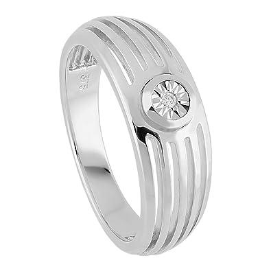 Diamond Line Women's Ring (0.01CT) White Brilliant Cut Diamond Engagement Ring Proposal Ring 375White Gold Ring Diamond 120054Size 54(17.2)