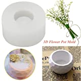 Oyov2L 3D Rounded Shape DIY Silicone Concrete Plant Flower Pot Vase Candle Holder Mold Hand-Made Silicone Candle and Soap Bottle Mold (Color: Multi)