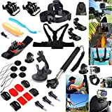 EEEKit 27-in-1 Accessories Kit for Gopro HD Hero 4 Hero4 Camera, Head Belt Strap Mount+ Chest Belt Strap Mount+ Extendable Handle Monopod + Car Suction Cup Mount Holder + Floating Handle Grip + 2 PCS Tripod Mount Adapter + 2 PCS Gopro Surface J-Hook + 4 P