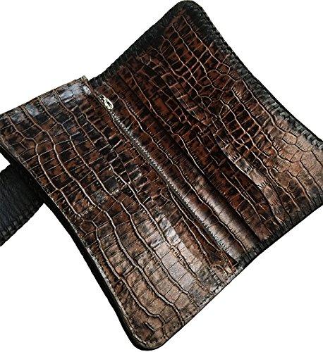 D'SHARK Luxury Biker Crocodile Skin Leather Bi-fold Snap Wallet (Black) 4