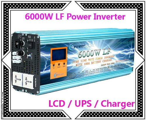 """6000 Watt Continual 24000 Watt Surge Low Frequency Pure Sine Wave Power Inverter Converter Transformer 24 V Dc Input / 110 V-120 V Ac Output 60 Hz Frequency With 100A Battery Charger Power Tools 3.5"""" Lcd/Ups/Charger"""