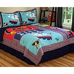 2 Piece Kids Pirate Themed Bedding Twin Quilt Set, Shiver Me Timbers! Buried Treasure Embroidery with Pirates, Island, Pirate Boat Ship, Red White Blue