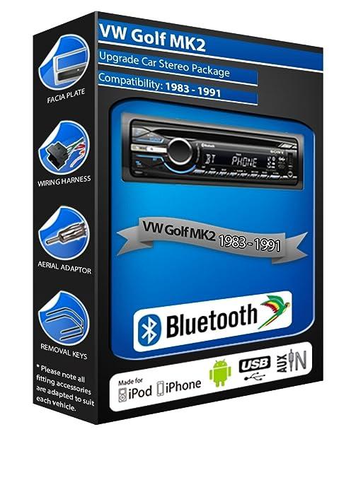 VW Golf MK2 de lecteur CD et stéréo de voiture Bluetooth kit Mains Libres avec ports USB/AUX pour iPod/iPhone
