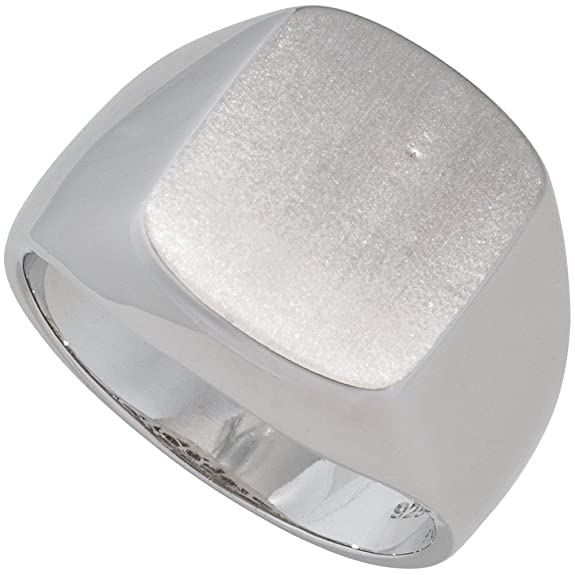 Men's Round Surface Flat Ring 925 Silver Rhodium Plated Partially Matted Silver Ring