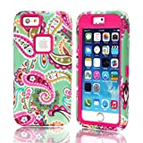 iPhone 6 Case, iPhone 6 4.7 Case, Rosepark(TM) Paisley Flower Pattern Shockproof Hybrid Hard Plastic with Soft TPU Triple Layer Armor Full Body Protective Case Cover for Apple iPhone 6 4.7 inch(Hot Pink), With Screen Protector, Stylus Pen and Cleaning Cloth