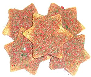 Scott's Cakes Red and Green Christmas Star Sugar Cookie in a Large Solid Gold Tin