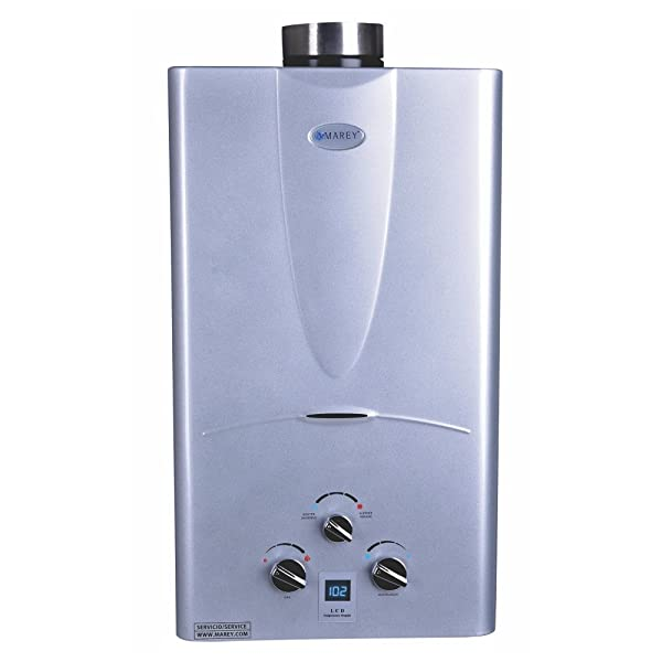 Marey Power Gas 10L 2.7  GPM Natural Gas Digital Panel Tankless Water Heater (Color: Silver, Tamaño: NG)