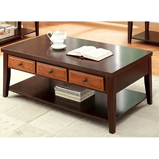 Furniture of America Divonne Dual Tone Coffee Table - Dark Oak / Dark Cherry