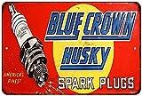 Blue Crown Husky Spark Plugs Vintage Look Reproduction Metal Sign 8x12 8122218