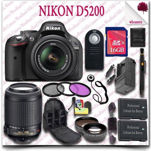 Nikon D5200 Digital Slr Camera With 18-55Mm Af-S Dx Vr (Black) + Nikon 55-200Mm Af-S Dx Vr Lens + 16Gb Sdhc Class 10 Card + Wide Angle Lens / Telephoto Lens + 3Pc Filter Kit + Slr Camera Backpack + Wireless Remote 21Pc Nikon Saver Bundle