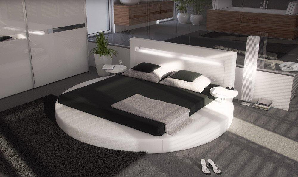 SAM® Polsterbett Rundbett Sanctuary in Weiß 180 x 200 cm Kopfteil mit Beleuchtung inklusiv 2 Nachttischablagen modernes Design Wasserbett geeignet teilzerlegt Auslieferung durch Spedition  Bewertungen