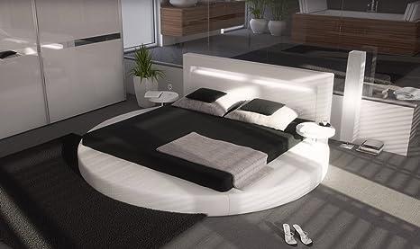 SAM® Rundbett Sanctuary in Weiß 140 x 200 cm inklusiv 2 Nachttischablagen Kopfteil mit Beleuchtung modernes Design