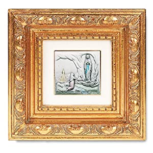 "Antique Gold Leaf Frame w/ OL Our Lady of Lourdes 5 1/2"" Religious Icon Wall Art Picture Image Gift New"