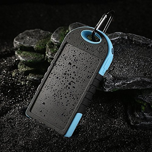 JJF Bird TM Solar Panel Charger 12000mah Rain-resistant Waterproof Shockproof Portable Dual USB Port Portable Charger Backup External Battery Power Pack for Iphone 6 4 4s 5 5sipod, Ipad Ipad Mini Retina(apple Adapters Not Included), Samsung Galaxy Note 2, Note 3, S2 S3, S4, S5, Blackberry Z30, Z10, Q10, Q5, Asus Nexus 4, 5, 7, 10, HTC One V, X, M8, M7, Mini, Max, Motorola Moto G, X, E, Droid, Lg G2, G3, Sony Xperia, Nokia Lumia, Icon, 521, 520, 920, 1020, 1520 Most Android/windows Smart Cell Phones, Gps, Tablets, and Other Usb-charged Devices, Etc. (blue)