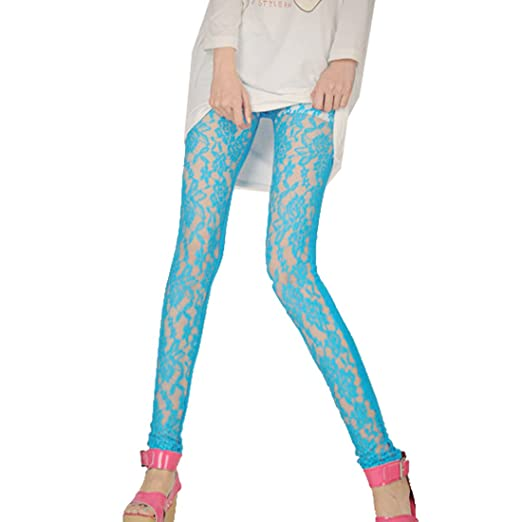 Ladies Elastic Waist Sheer Lace Front Spring Leggings Pants Sky Blue XS