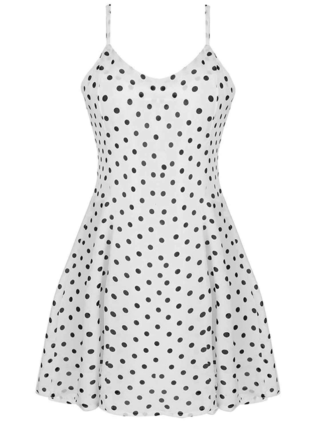 OURS Women's Polka Dot Spaghetti Strap Chiffon Pleated Casual Party Dress these days are ours