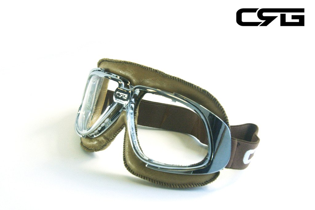 CRG Sports Vintage Aviator Pilot Style Motorcycle Cruiser Scooter Goggle T10 T10SCN-L Transparent lens, Silver frame, Light brown padding 1