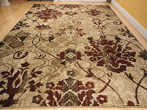 Modern burgundy rug for living room red cream beige area - Living room area rugs contemporary ...