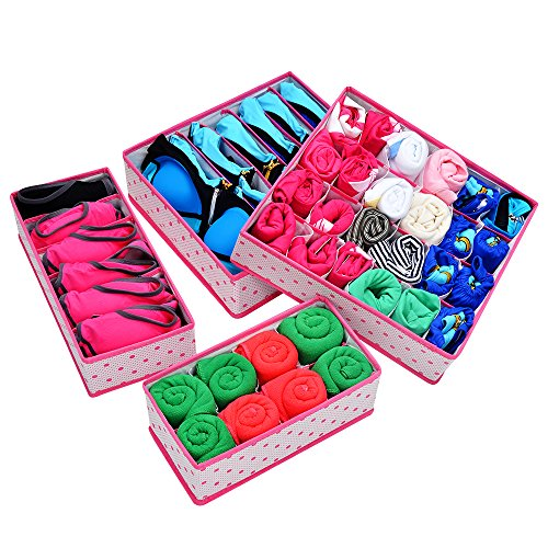 Home-Cube® Bra, Underwear, Socks, Ties Storage Boxes Drawer Dividers Closet Organizer -4Pcs (Rose Red Dots)