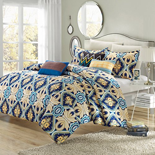 Sutton 8-Piece Reversible Comforter Set Printed Luxury Bed In A Bag, Queen Size