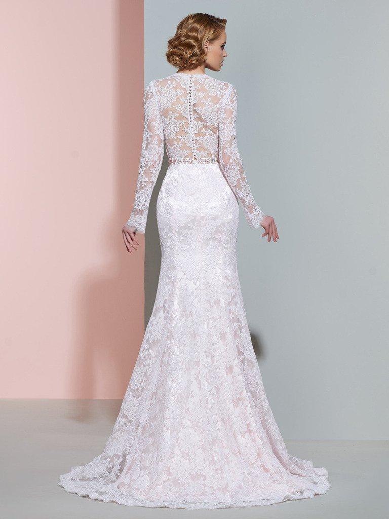 CLOCOLOR Women's Sheer Long Sleeve Deep V Neck Mermaid Vintage Lace Wedding Dress 1