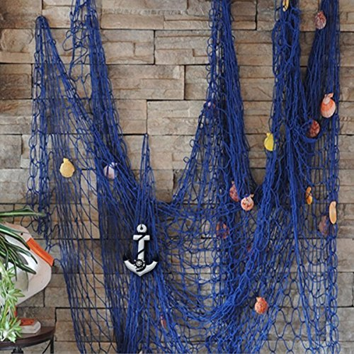 KINGSO Mediterranean Style Decorative Fish Net With Anchor and Shells Blue (Fishing Net Decor compare prices)