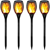 Gold Armour Solar Lights Outdoor - Flickering Flames Torch Lights Solar Light - Dancing Flame Lighting 96 LED Dusk to Dawn Flickering Tiki Torches Outdoor Waterproof Garden (4Pack) (Color: 4Pack, Tamaño: 4Pack)