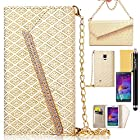 Note 4 Case, Galaxy Note 4 Case, GoodPro™ Luxury Fashion [Gold-plated Hardware Handbag Design](Beige), Premium PU Leather Wallet Case Flip Cover with Card Holder/ Carrying Strap for Samsung Galaxy Note 4, Included (Screen Protector, Stylus and Cleaning Cloth), Samsung Galaxy Note 4 Case