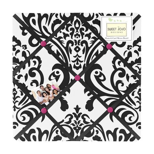 Hot Pink, Black And White Isabella Fabric Memory/Memo Photo Bulletin Board By Sweet Jojo Designs front-230710