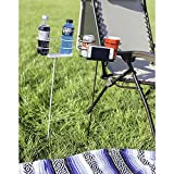Sunnydaze Set of 2 Dual Heavy Duty Outdoor Drink Holders with Side Tray